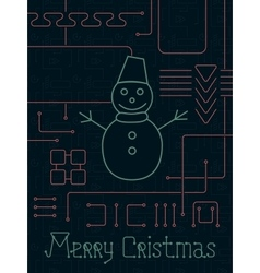 Merry christmas techno line art bakcground vector