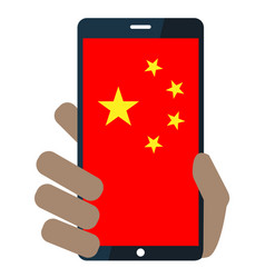 Mobile phone with chinese flag icon vector