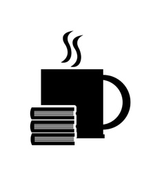 Mug and book stack icon vector