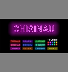 Neon name of chisinau city vector