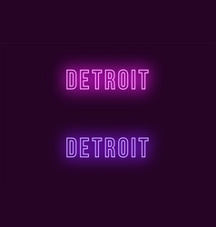 Neon name of detroit city in usa text vector