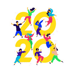new year 2020 people tweet and have fun around vector image