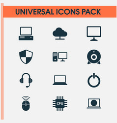Notebook icons set collection of power on vector