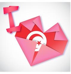 Origami paper I love Tunisia heart card vector