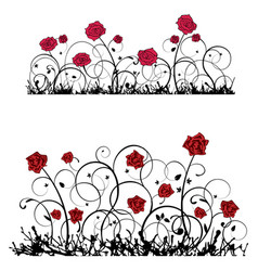 ornament with roses banner vector image