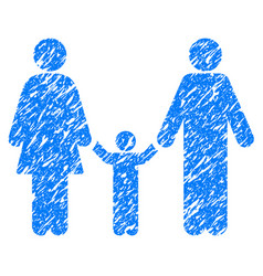 Parents and child grunge icon vector