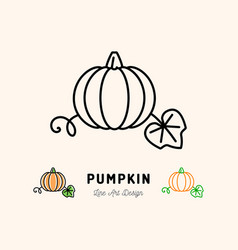 Pumpkin icon vegetables logo thin line art vector