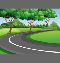 Scene with road in the park vector