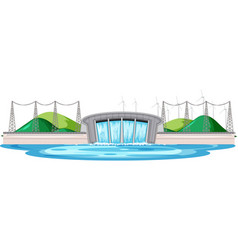 Scene with water dam with wind turbines on the vector