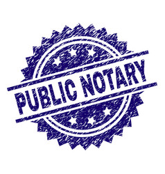 Scratched textured public notary stamp seal vector