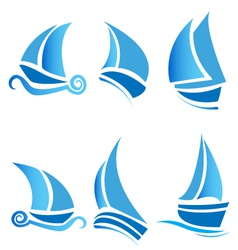 Set of boats vector image