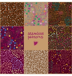 Set of eight colorful floral patterns vector image