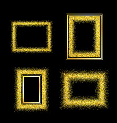 Set of elegant luxury gold textured frames vector