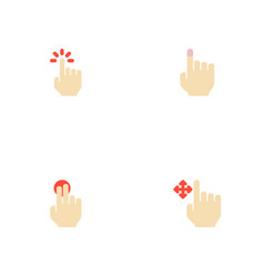 Set of gestures icons flat style symbols with hold vector