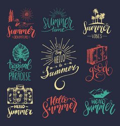 set of hand lettering with summer vector image