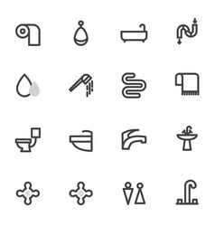 Set of icons with shower toilet bathroom vector