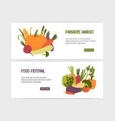 set of web banner templates with tasty organic vector image