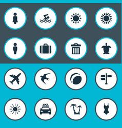 Set simple seaside icons vector