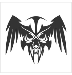 Skull with wings in tribal style vector