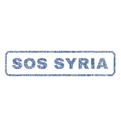 Sos syria textile stamp vector