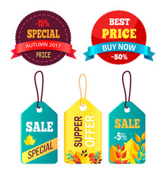 Stickers set ready to use in shopping promo text vector