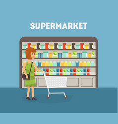supermarket banner template woman shopping at vector image