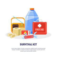 Survival kit banner template with space for text vector