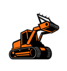 Tracked mulching tractor icon retro vector