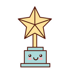 Trophy star award kawaii character vector