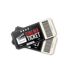 two cinema tickets on white background movie vector image