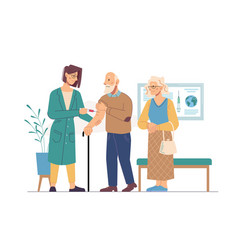 vaccination adult people nurse and aged seniors vector image