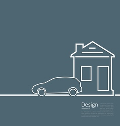Web template house and parking car logo in minimal vector image