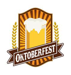 Classic oktoberfest festival emblem badge design vector