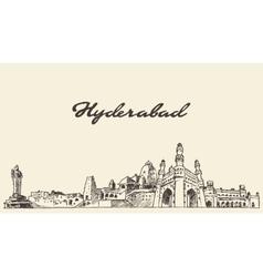 Hyderabad skyline drawn sketch vector image vector image