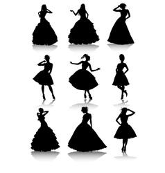 Set of various beautiful model girls in dress vector image vector image