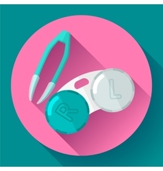 Contact lens case Container and tweezers for vector image