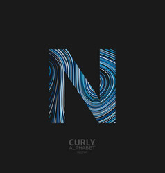 curly textured letter n vector image