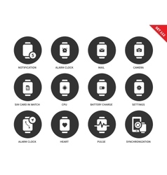 Modern smartwatch icons on white background vector image vector image
