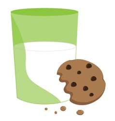Partially eaten cookie and milk vector