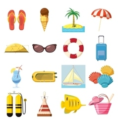 Travel Icons set cartoon style vector image