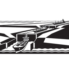 Cargo ships pass canal vector image vector image