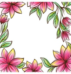Floral frame retro style design template vector image