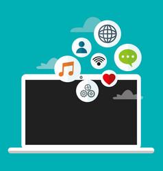 laptop cloud connection social media vector image