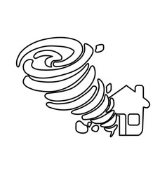 Line tornado taking and destruction a house vector
