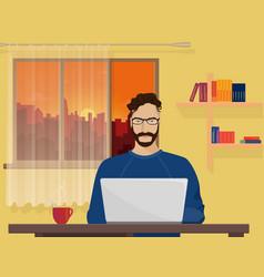 Man Freelancer designer hipster is working coding vector image vector image
