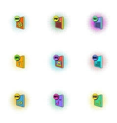 Types of files icons set pop-art style vector image