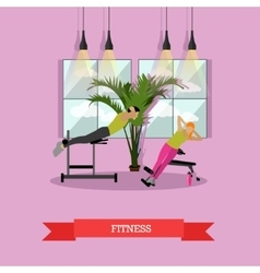 Women are doing exercise and yoga in fitness vector image