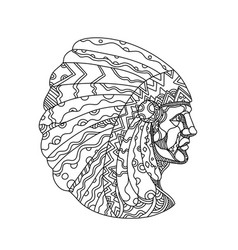 american plains indian with war bonnet doodle vector image vector image