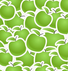 Fresh green apples seamless background vector image