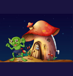 green elf and mushroom house at night vector image